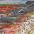 Gulls in a Lively Sea, Sidmouth. gouache, site material on card
