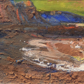 Sidmouth esplanade emerging from night. Gouche, cliff material on card
