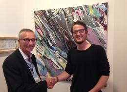 Cllr O'Leary with winning artist Nigel Walton